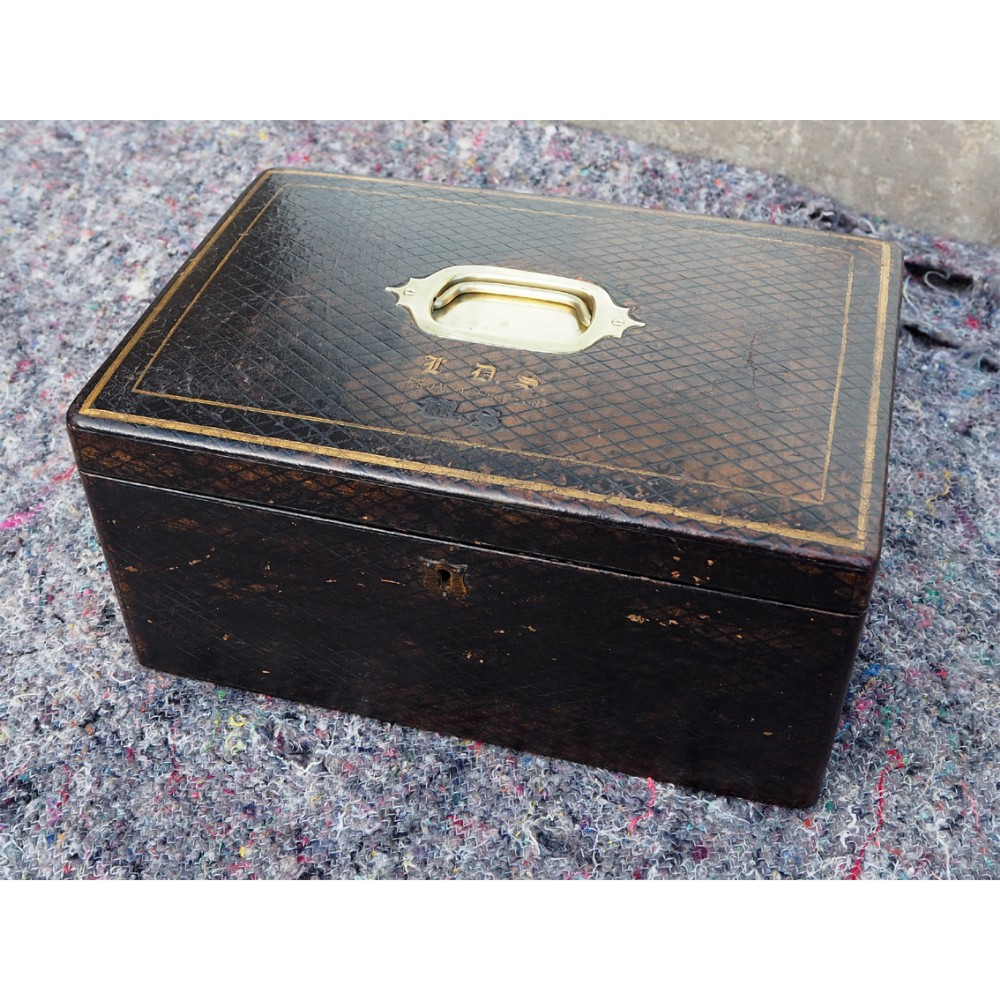 mid 19th century leather fitted box