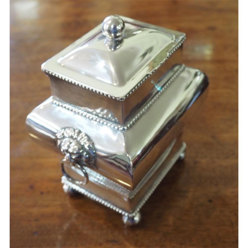 fine quality silver plated tea caddy