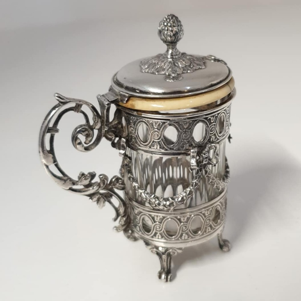 superb french silver mustard pot