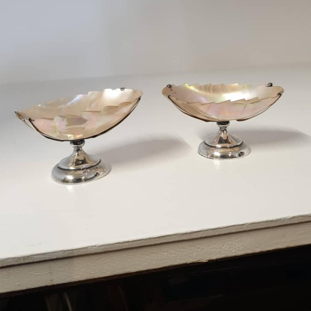 unusual pair edwardian silver salt cellars