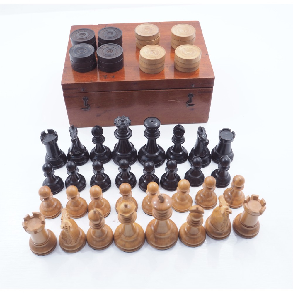 mahogany boxed chess and draughts sets
