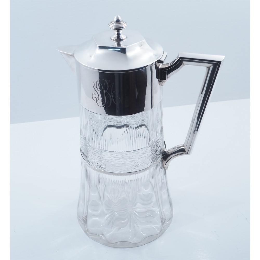 massive size silver cut glass claret jug