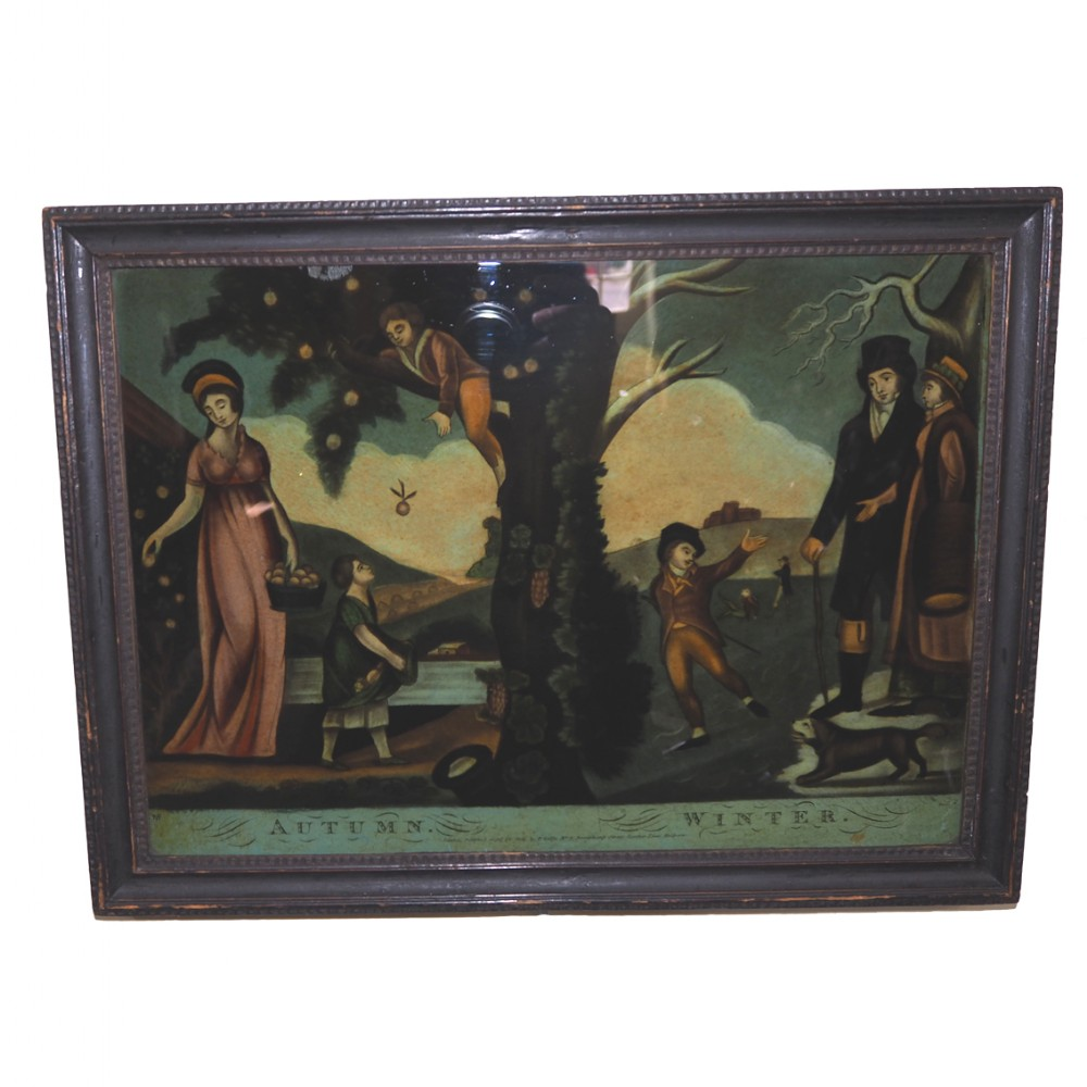 regency reverse painted glass picture dated 1806
