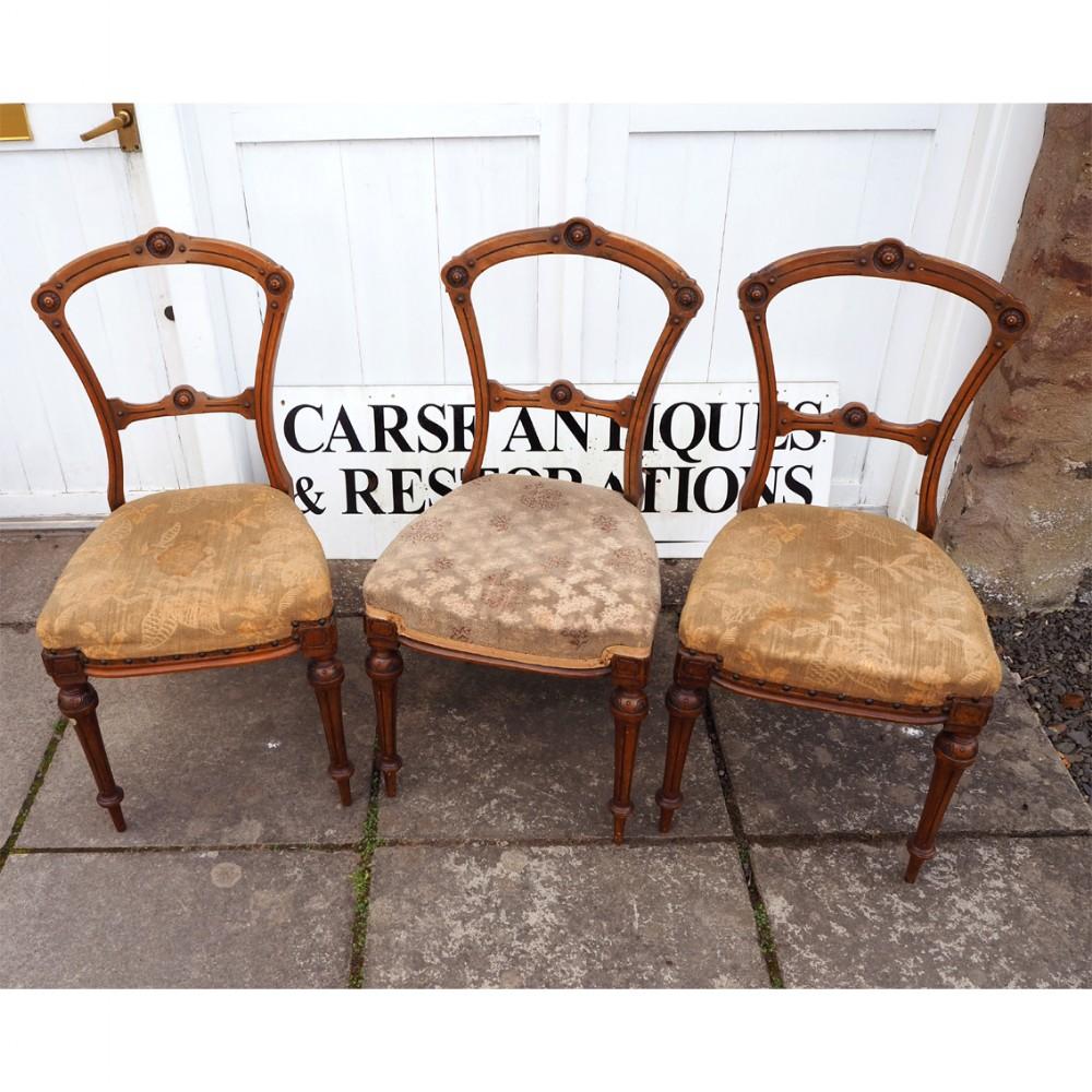 set f 3 victorian walnut bedroom chairs