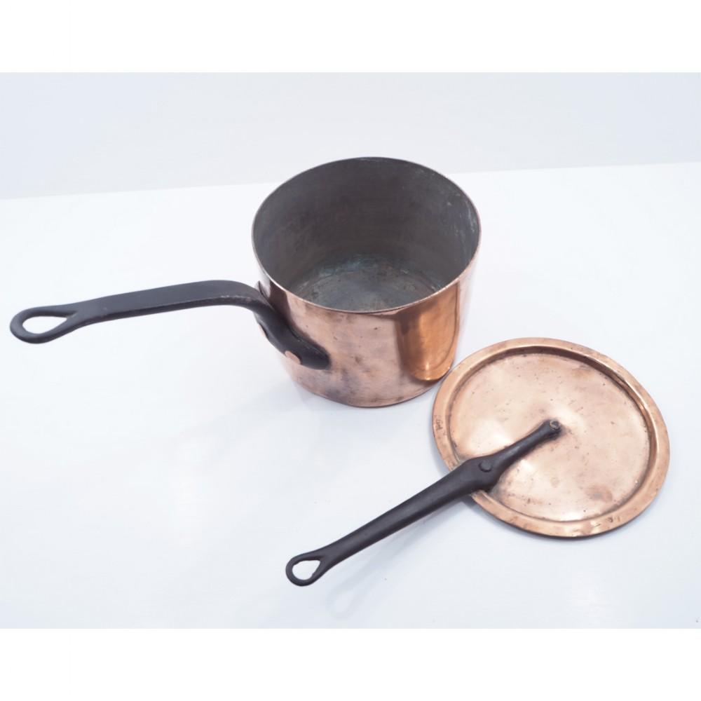 heavy victorian copper pan lid