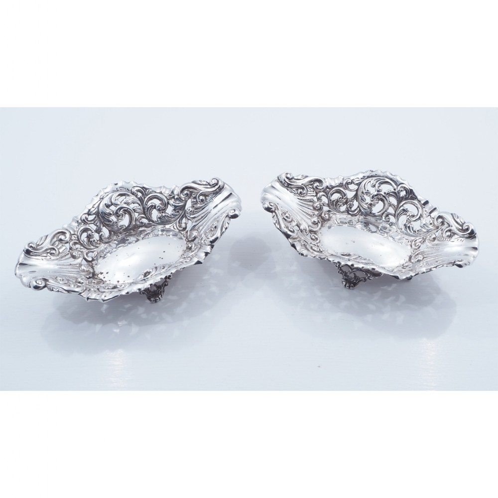 fine pair of victorian silver dishes