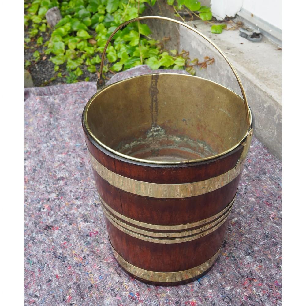 super 18th century brass bound bucket