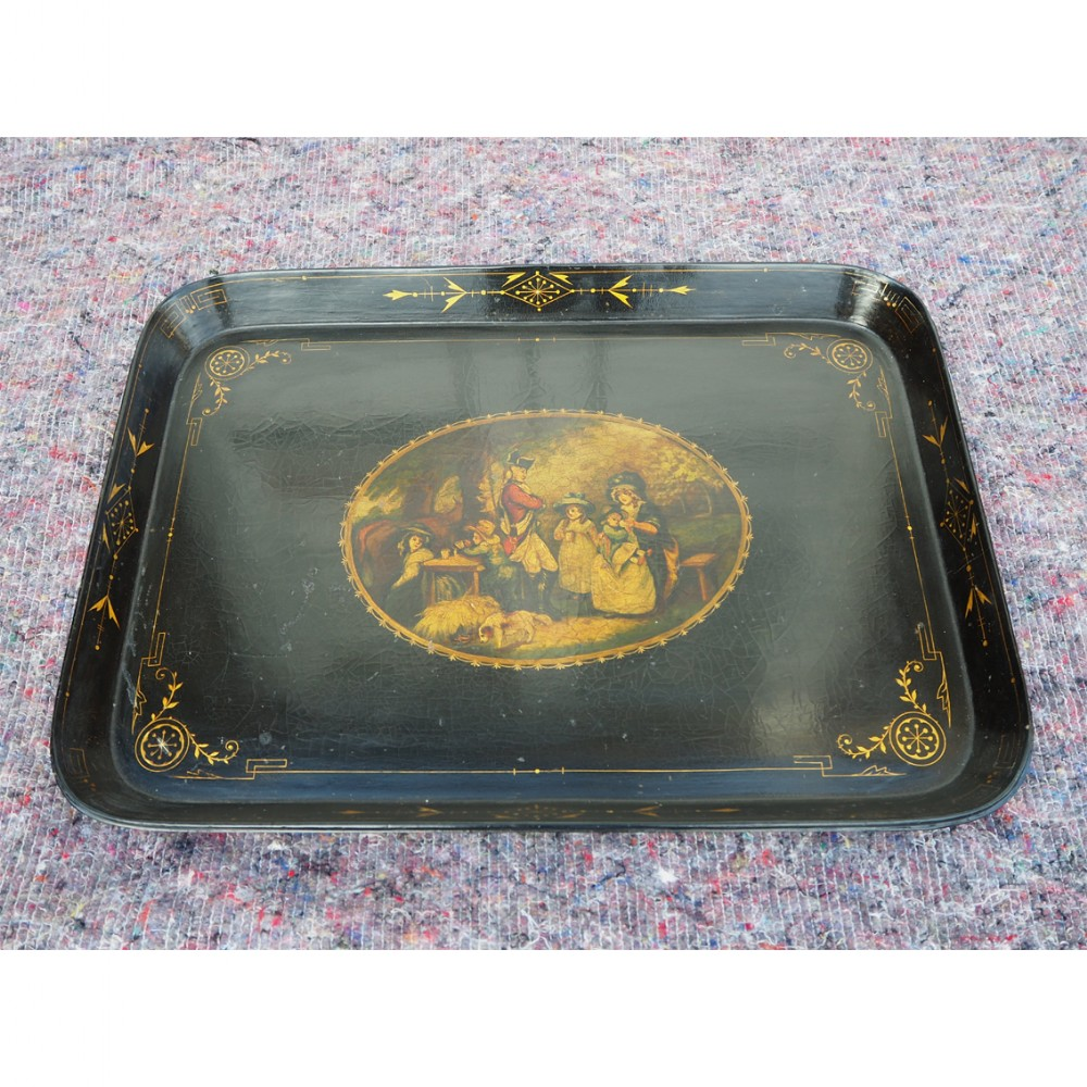 regency oblong lacquered painted tray