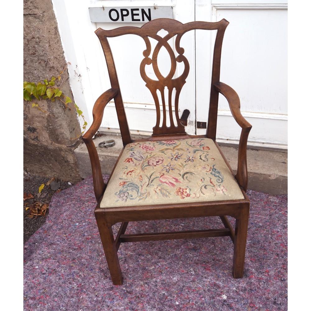 georgian mahogany chippendale arm chair