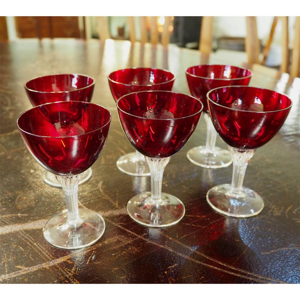 set of 6 ruby cut glass wine glasses