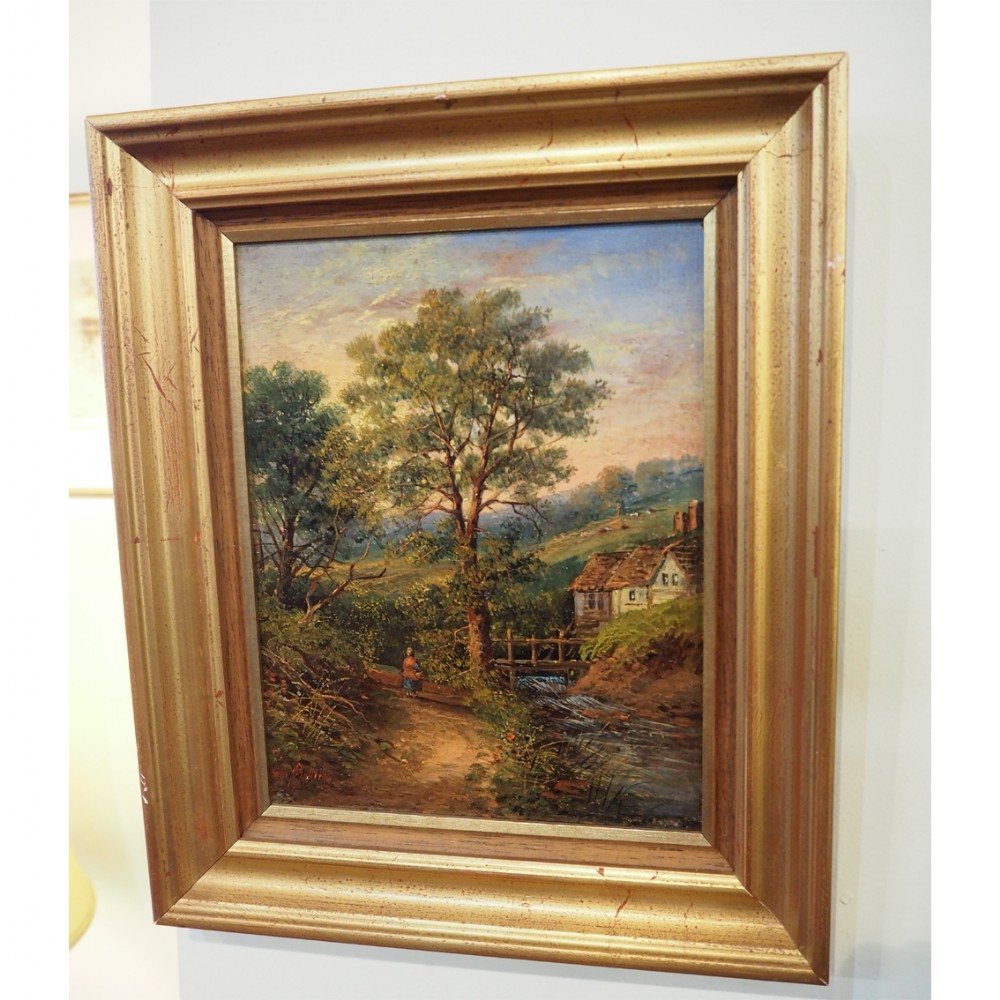 victorian oil on board painting