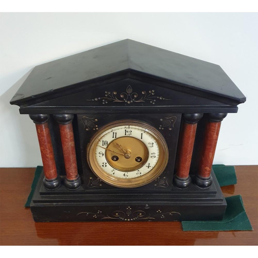 victorian black slate red marble mantel clock