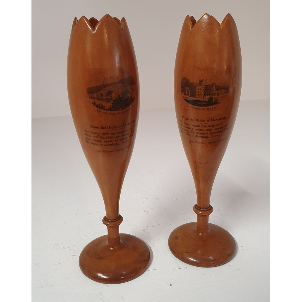 superb pair of scottish mauchline vases