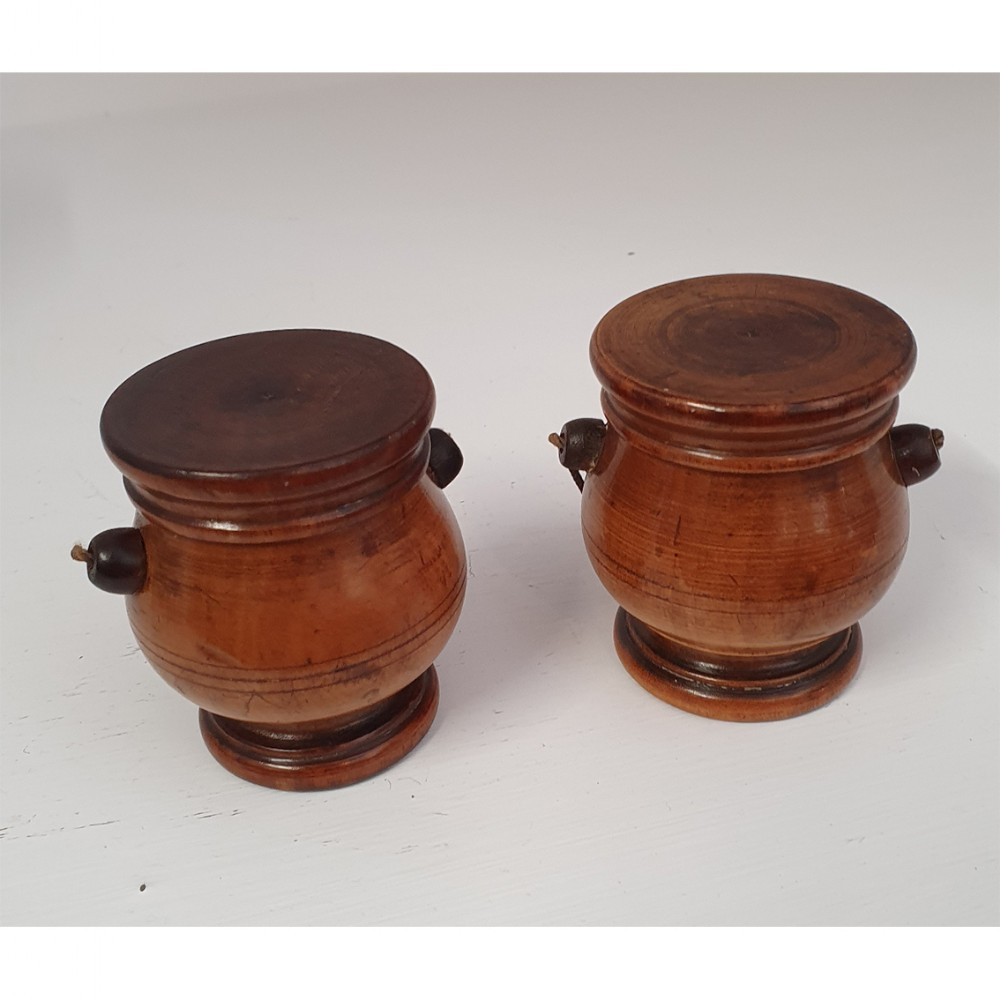 lovely pair of georgian treen spice pots