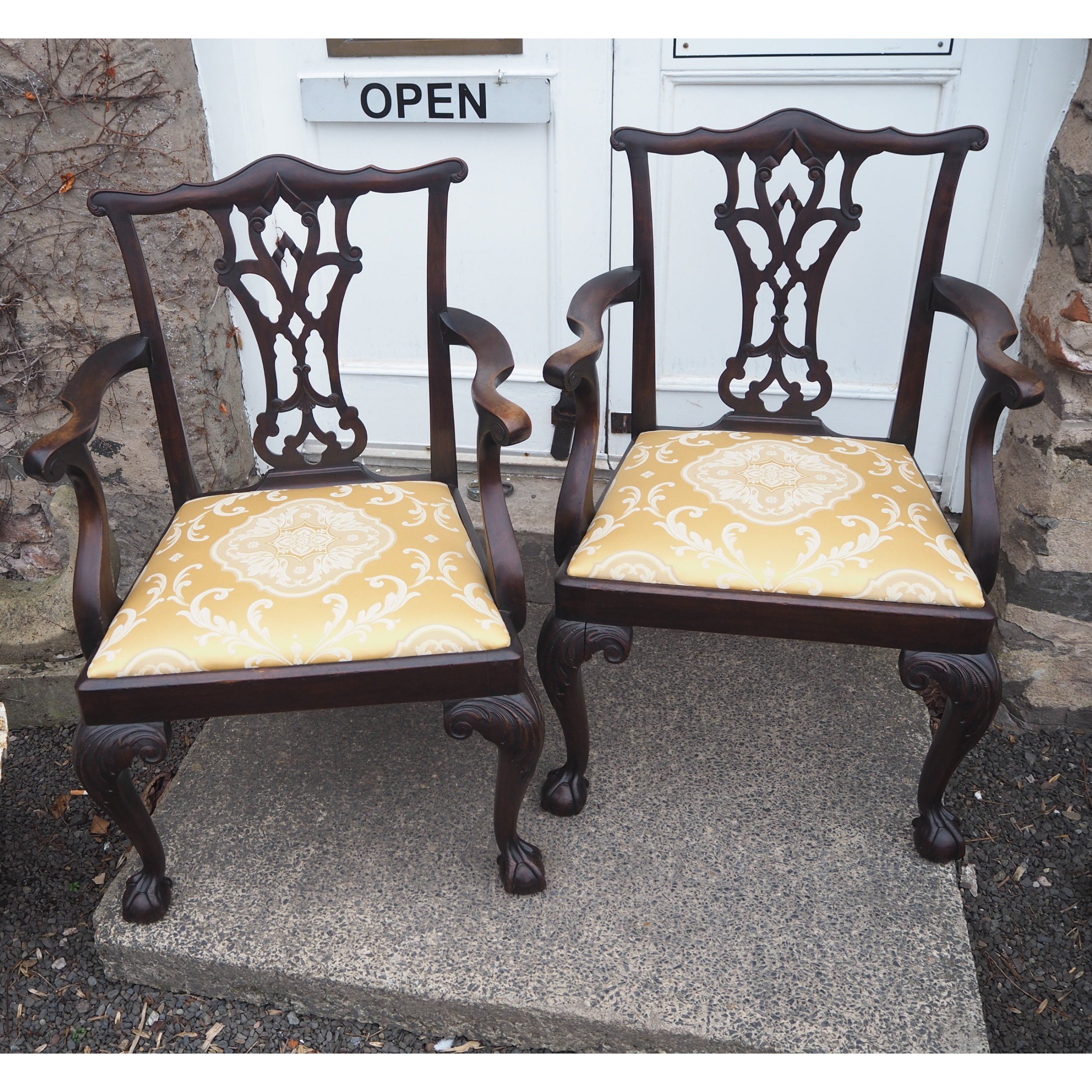 large pair of chippendale style arm chairs