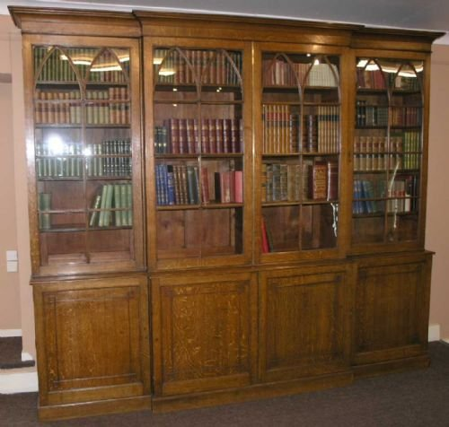 impressive georgian oak breakfront bookcase