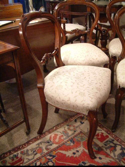 set of four walnut balloon back chairs c1850 - photo angle #3