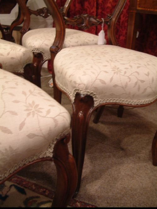 set of four walnut balloon back chairs c1850 - photo angle #4