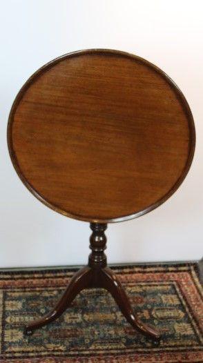 19th century dish tilt top tripod mahogany circular sidelamp table