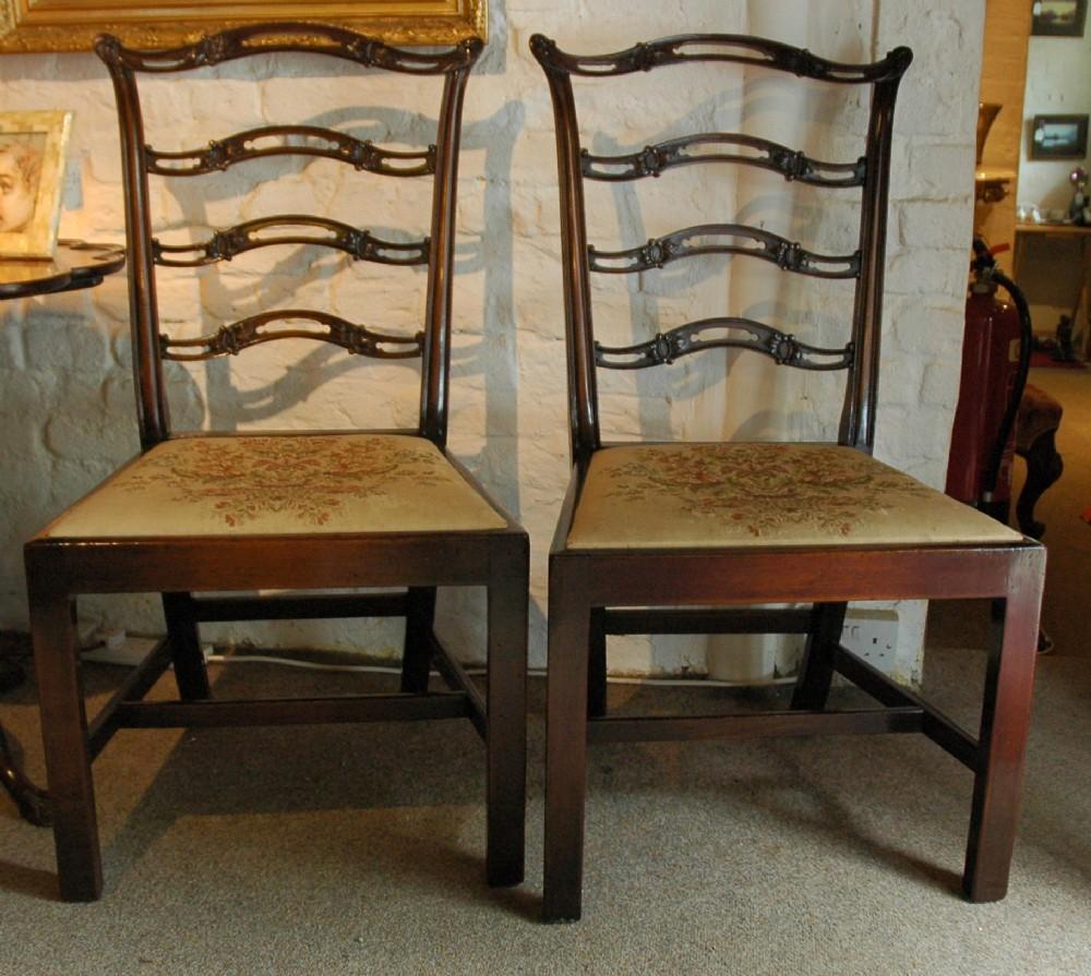 a pair of georgian ladderback side chairs