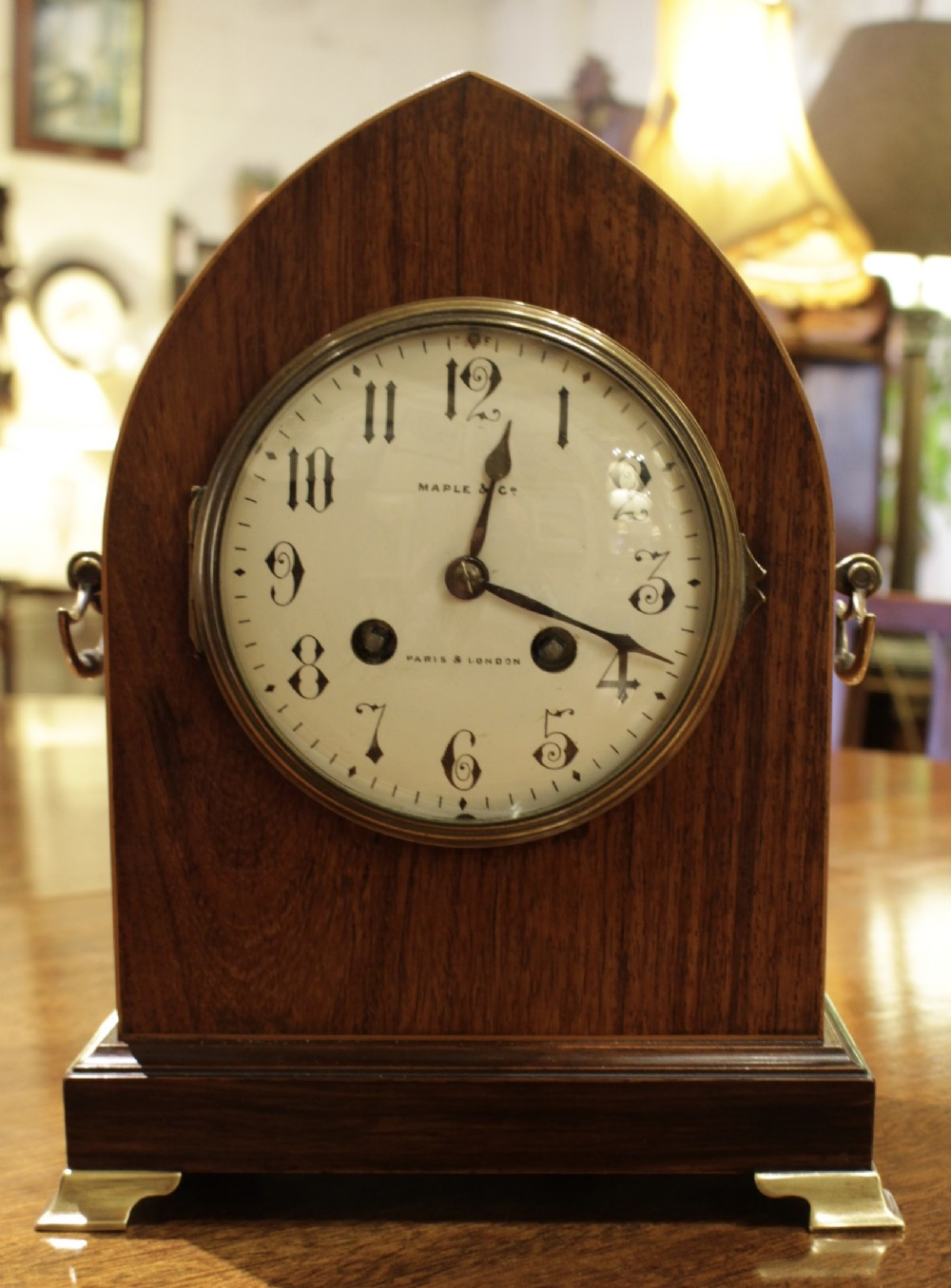 a victorian lancet shaped french clock