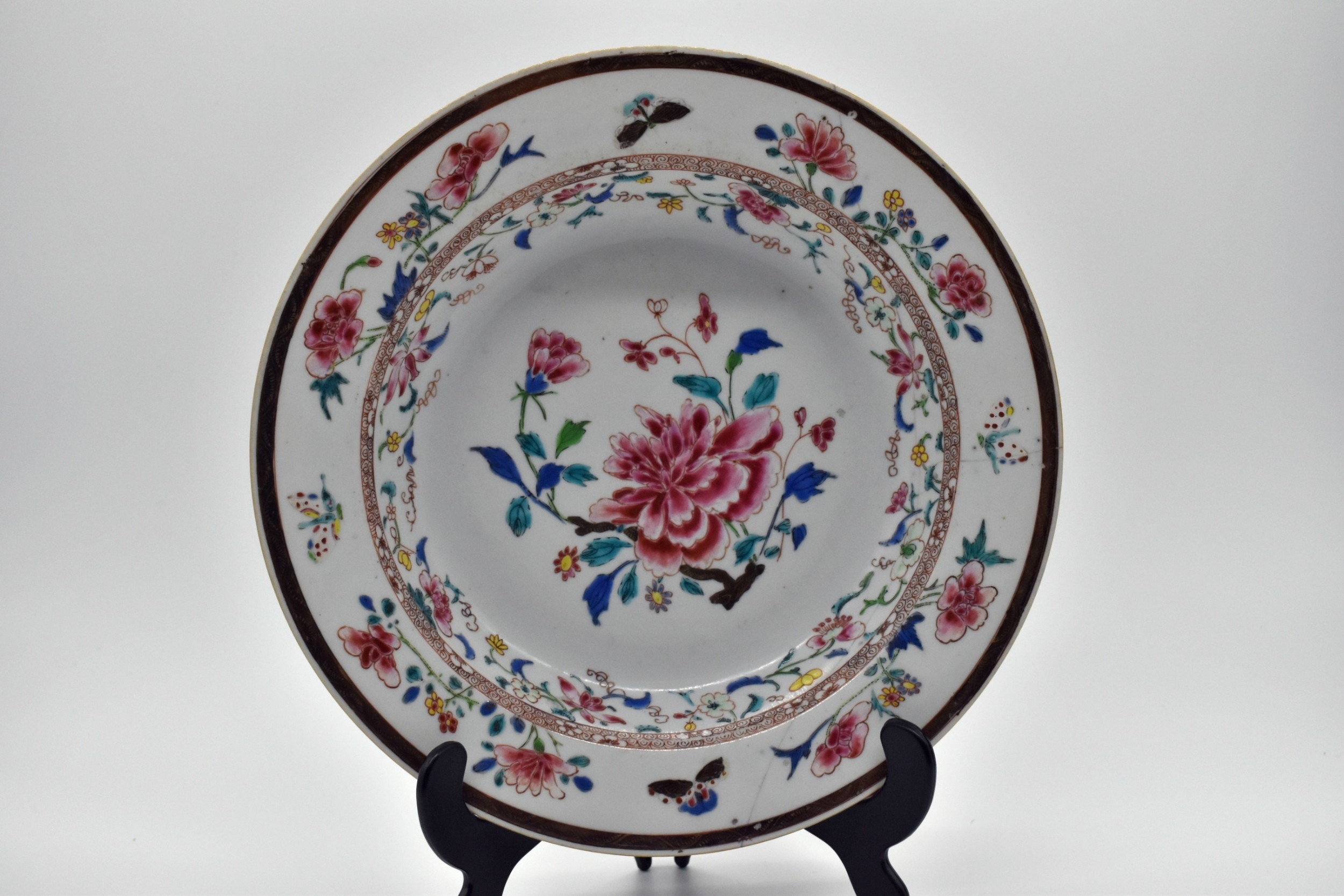famille rose chinese export dish