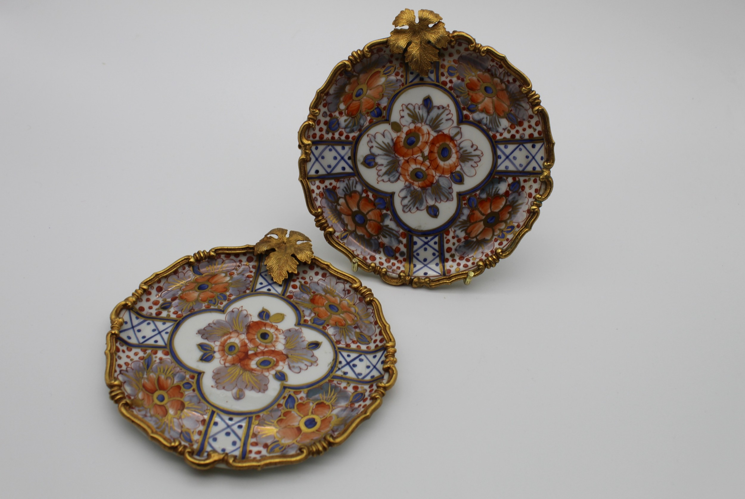 limoges gilt metal mounted imari colour pattern dishes early 20th century