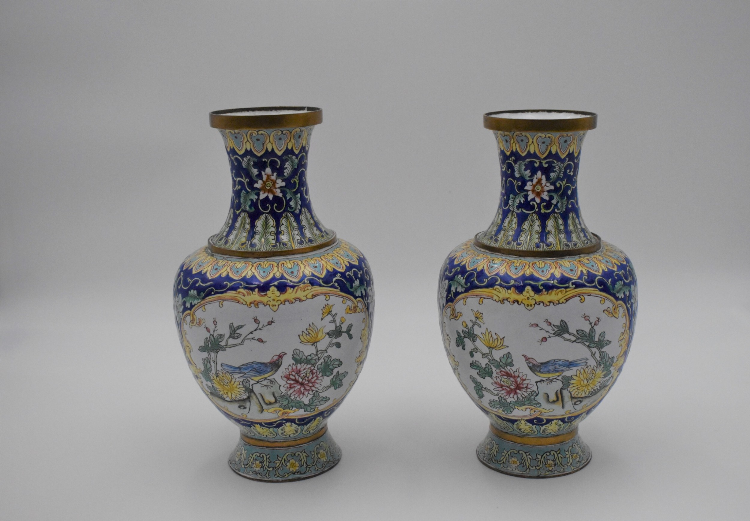 concentric pair of canton enamel on copper vases