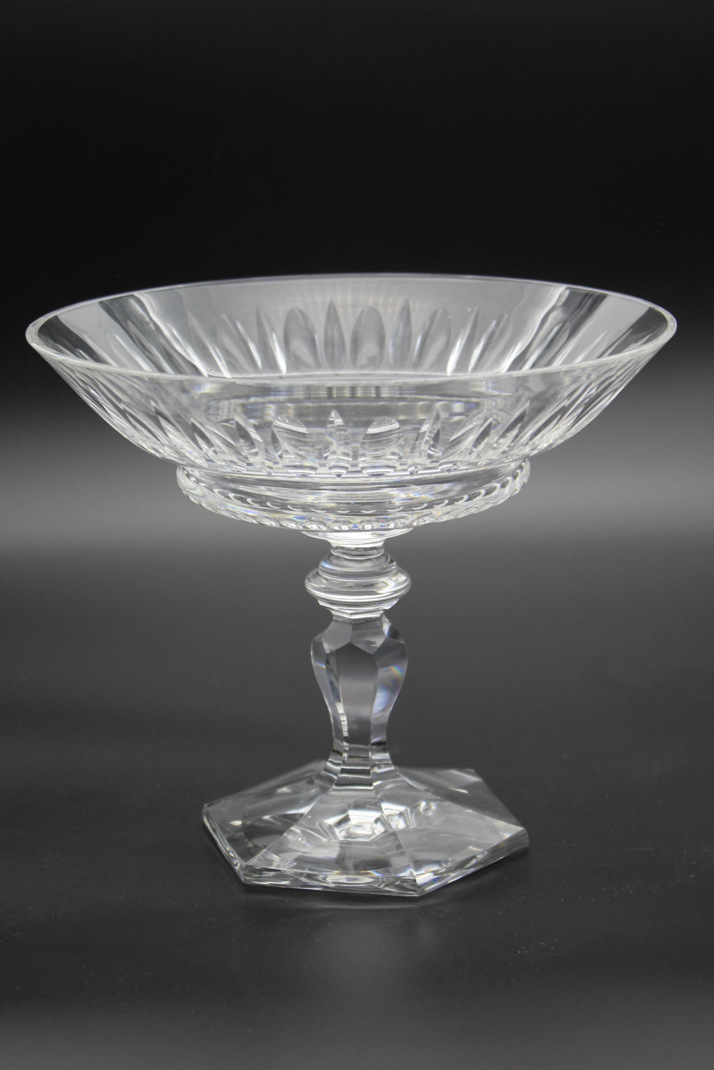 c1920s val st lambert glass tazza pedestal dish