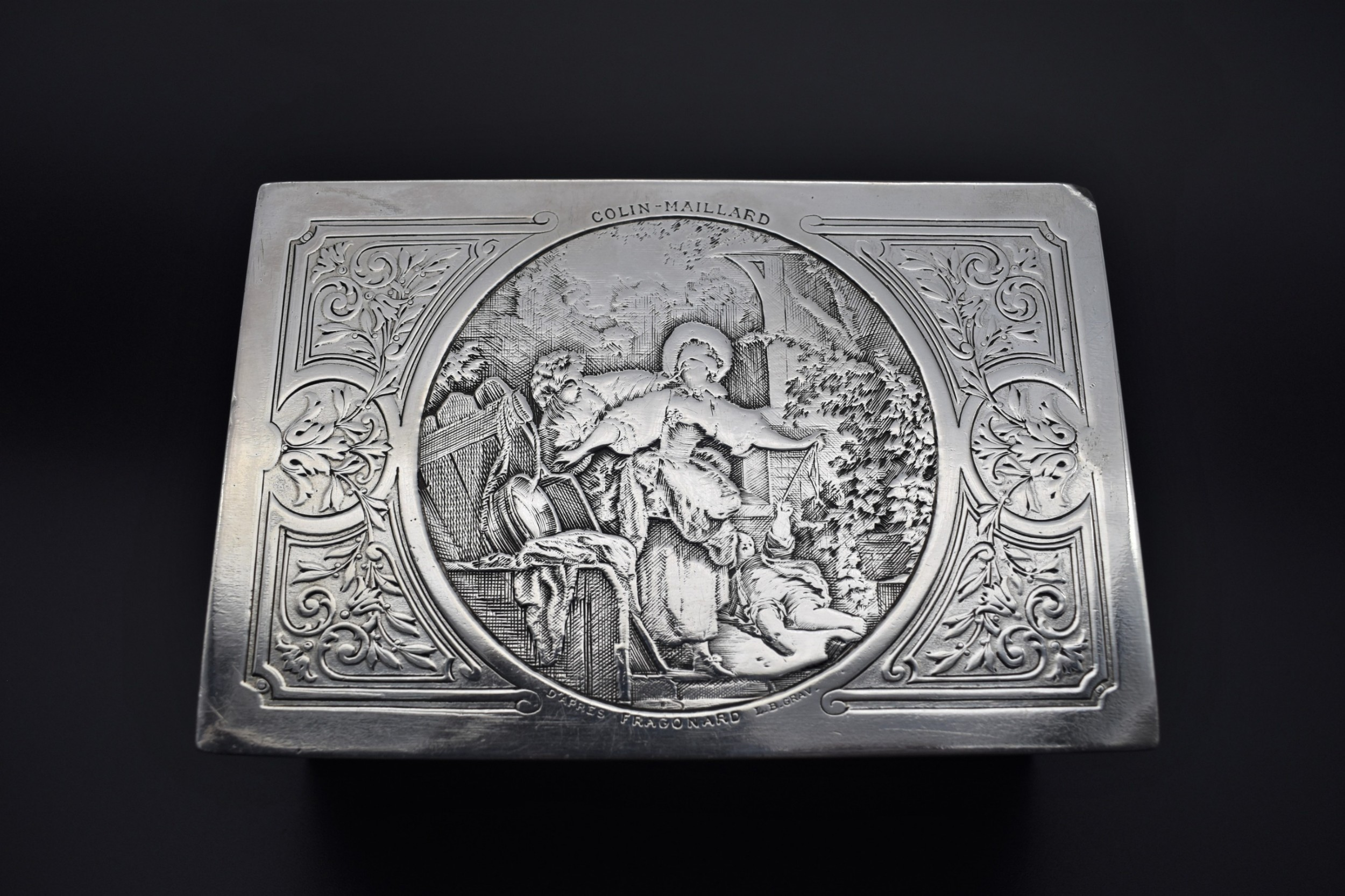 continental silver plated box with design after fragonard blind man's buff