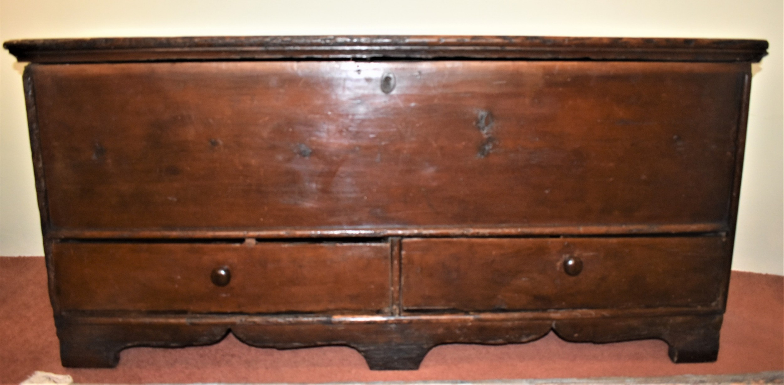 mid 18th century two drawer pine coffer