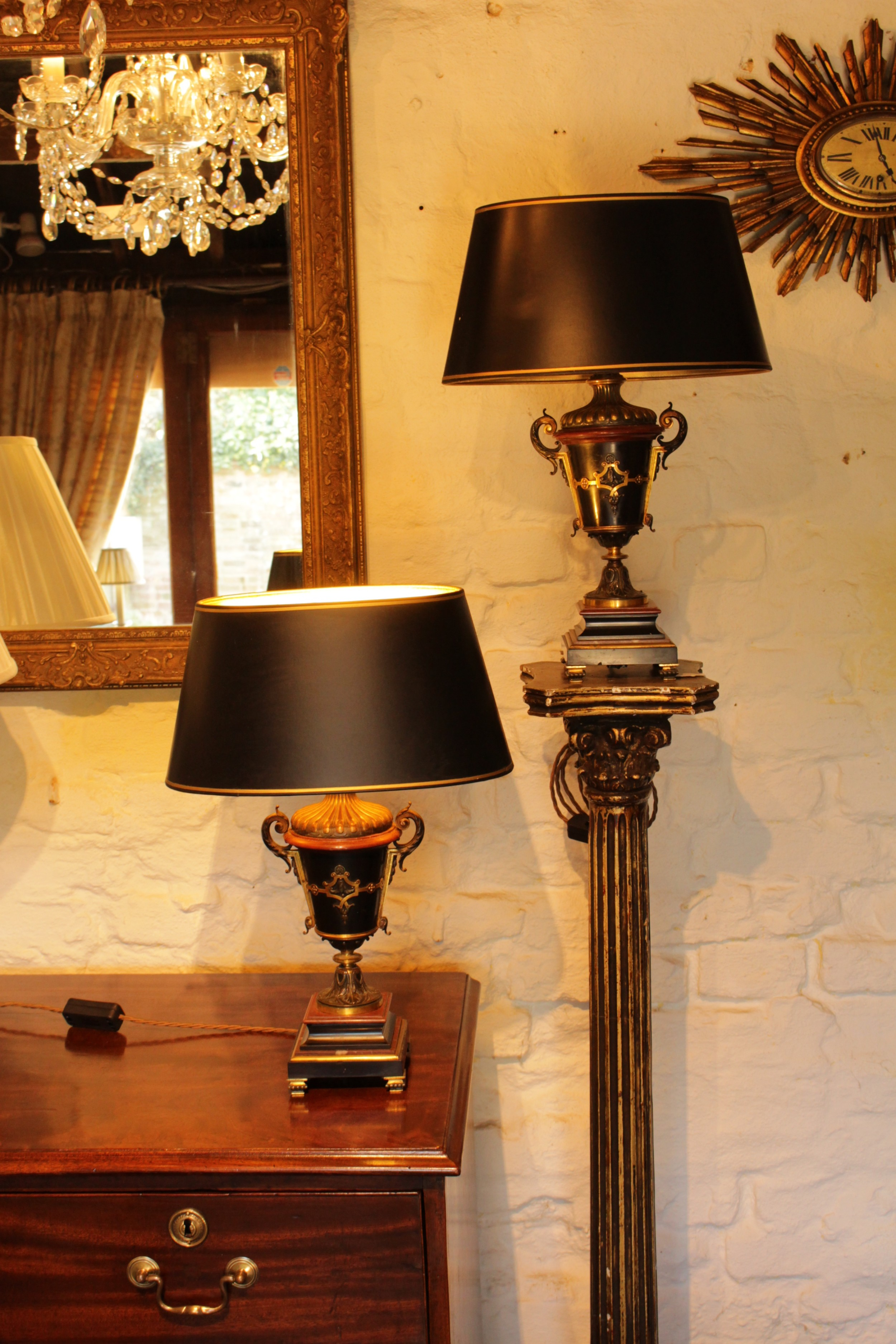 a pair of french bronze ormolu and marble table lamps