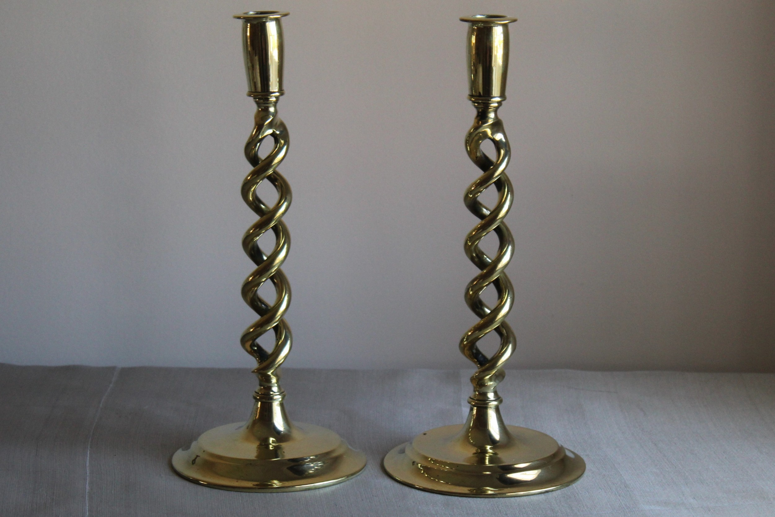 antique victorian brass candlesticks pair