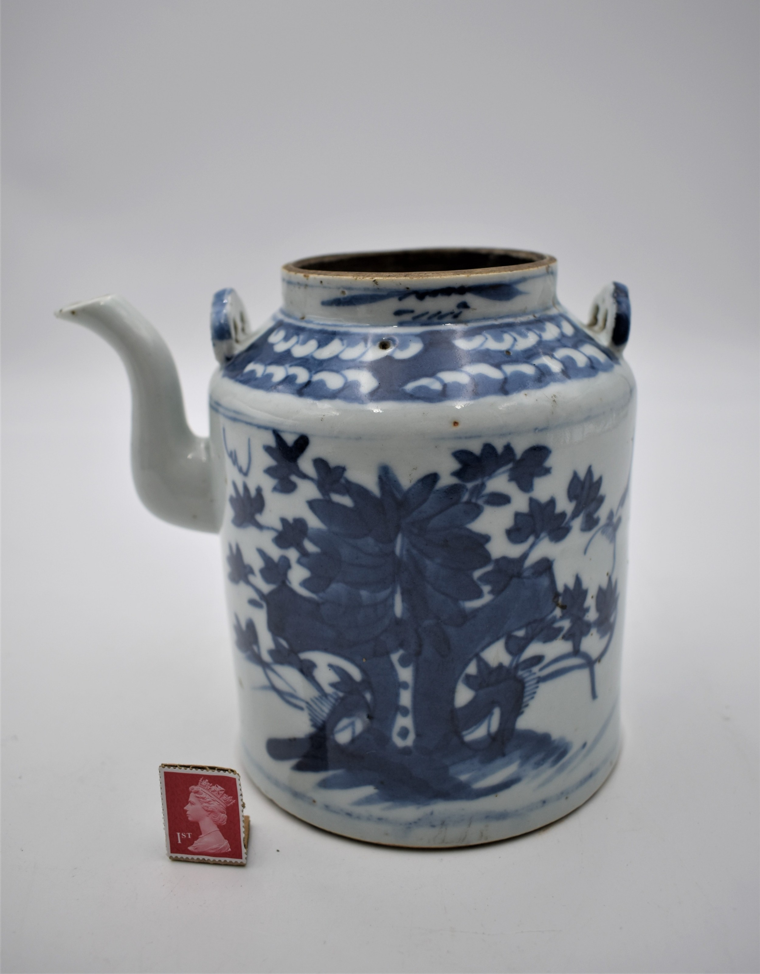 chinese blue and white tea pot kitchen qing