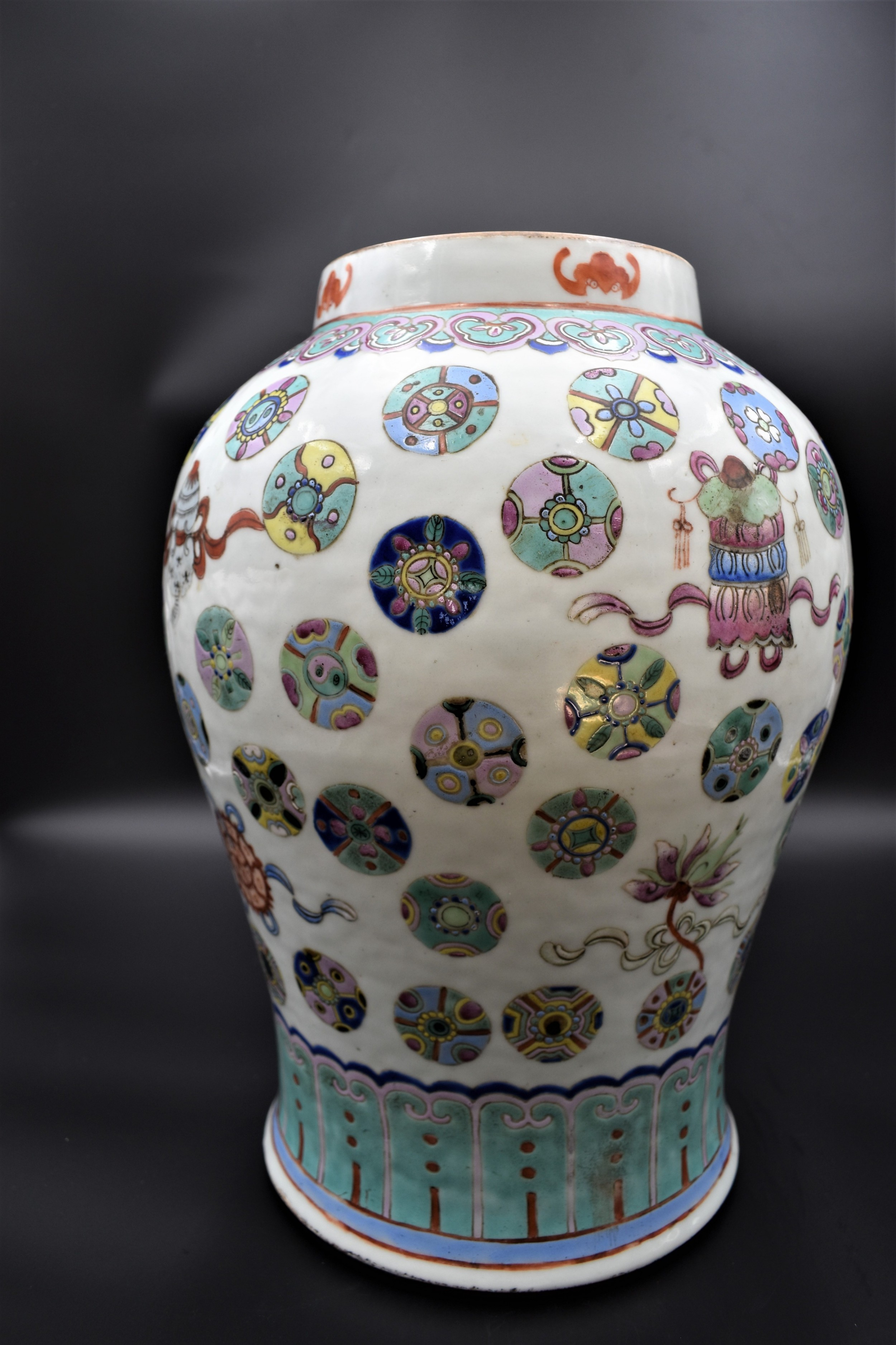 large chinese famille rose temple jar with lid guangxu