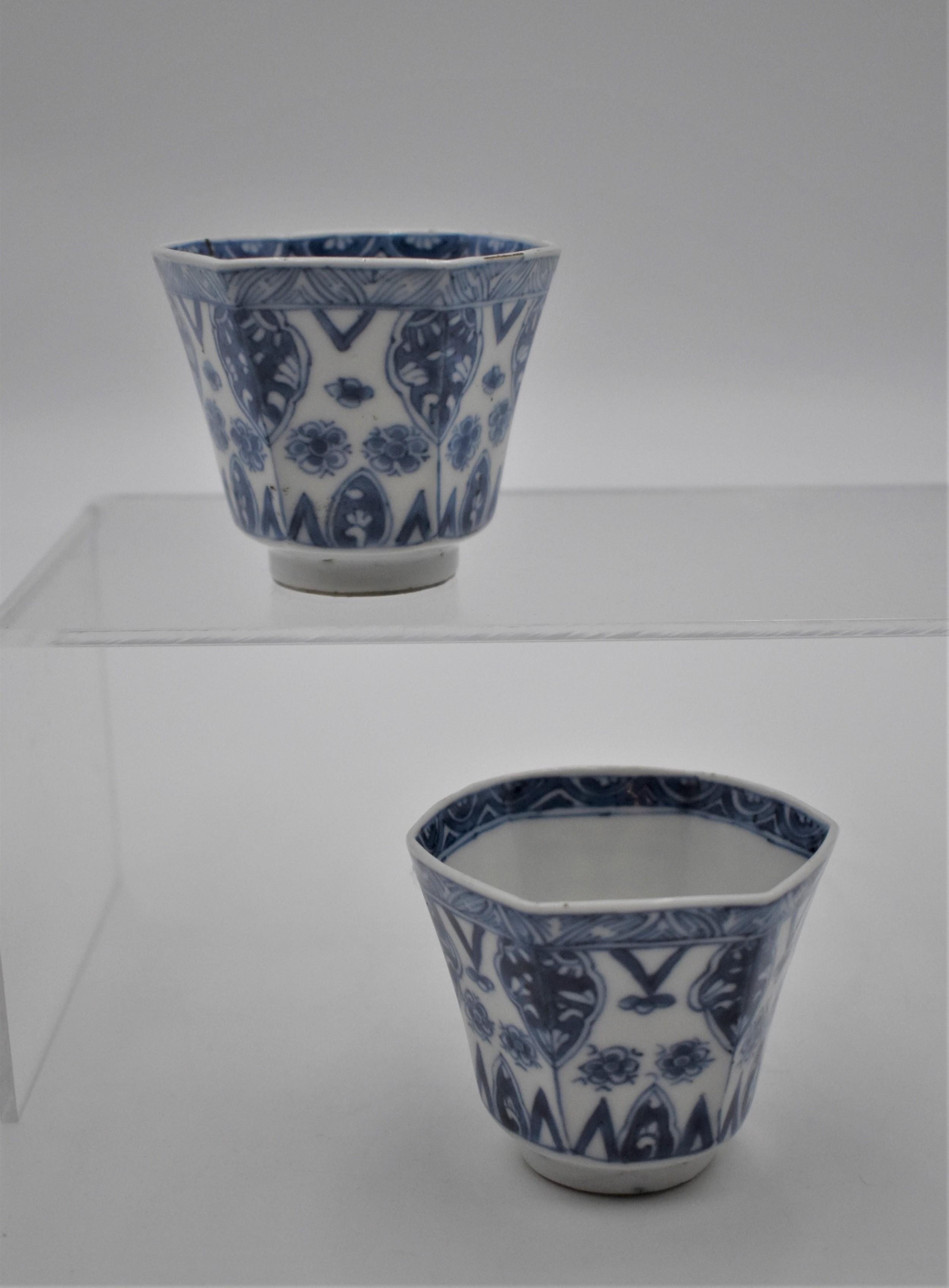 pair of chinese hexagonal tea bowls kangxi