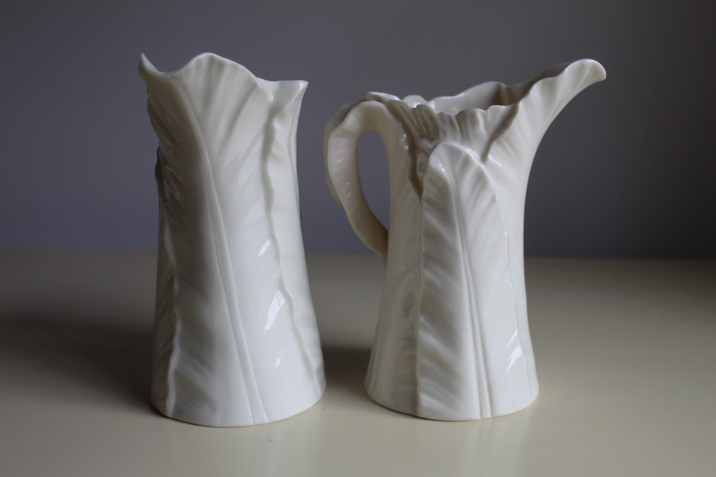 c1900 royal worcester leaf jugs pair