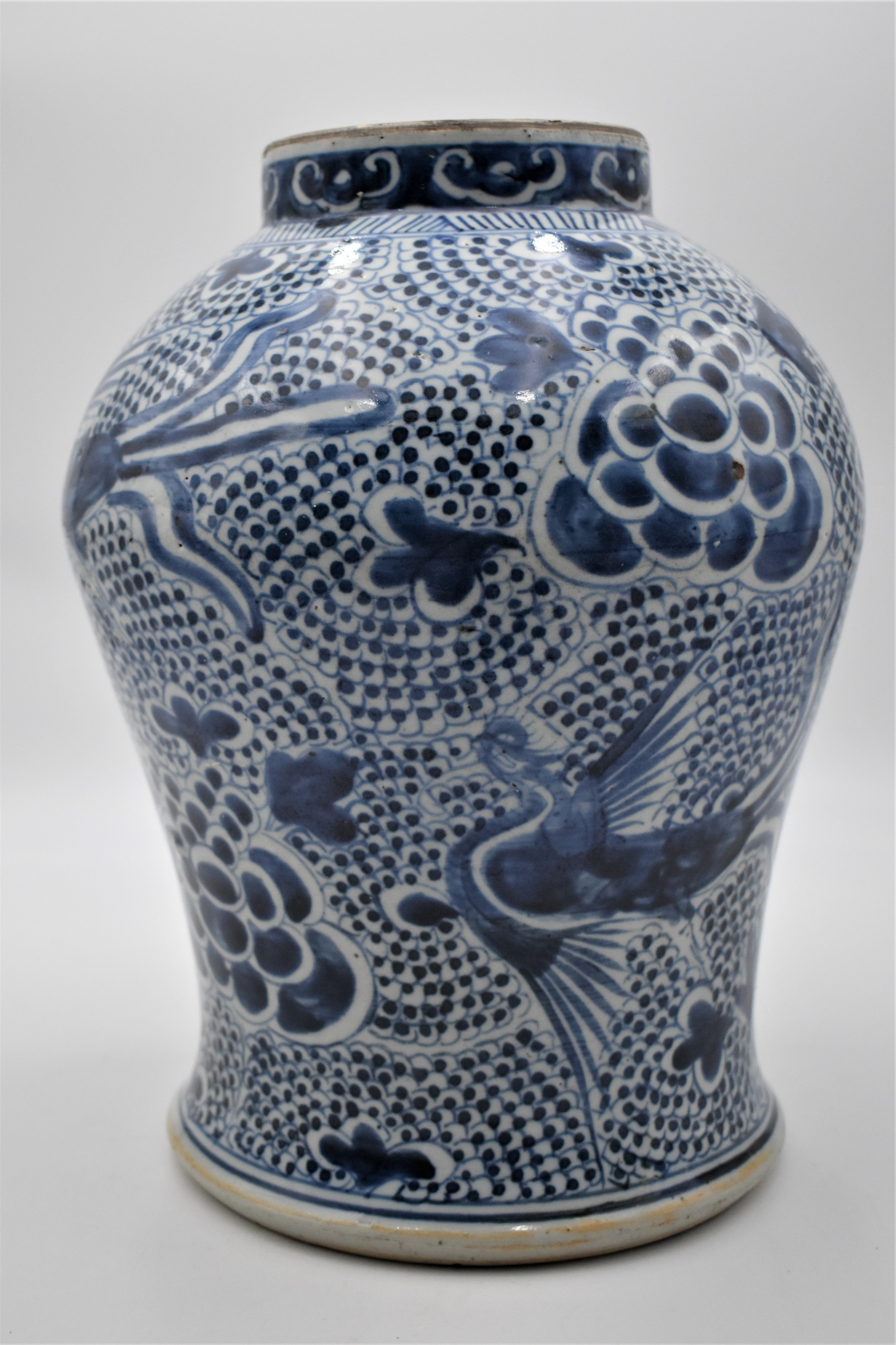 large chinese blue and white phoenix baluster jar early c 18th