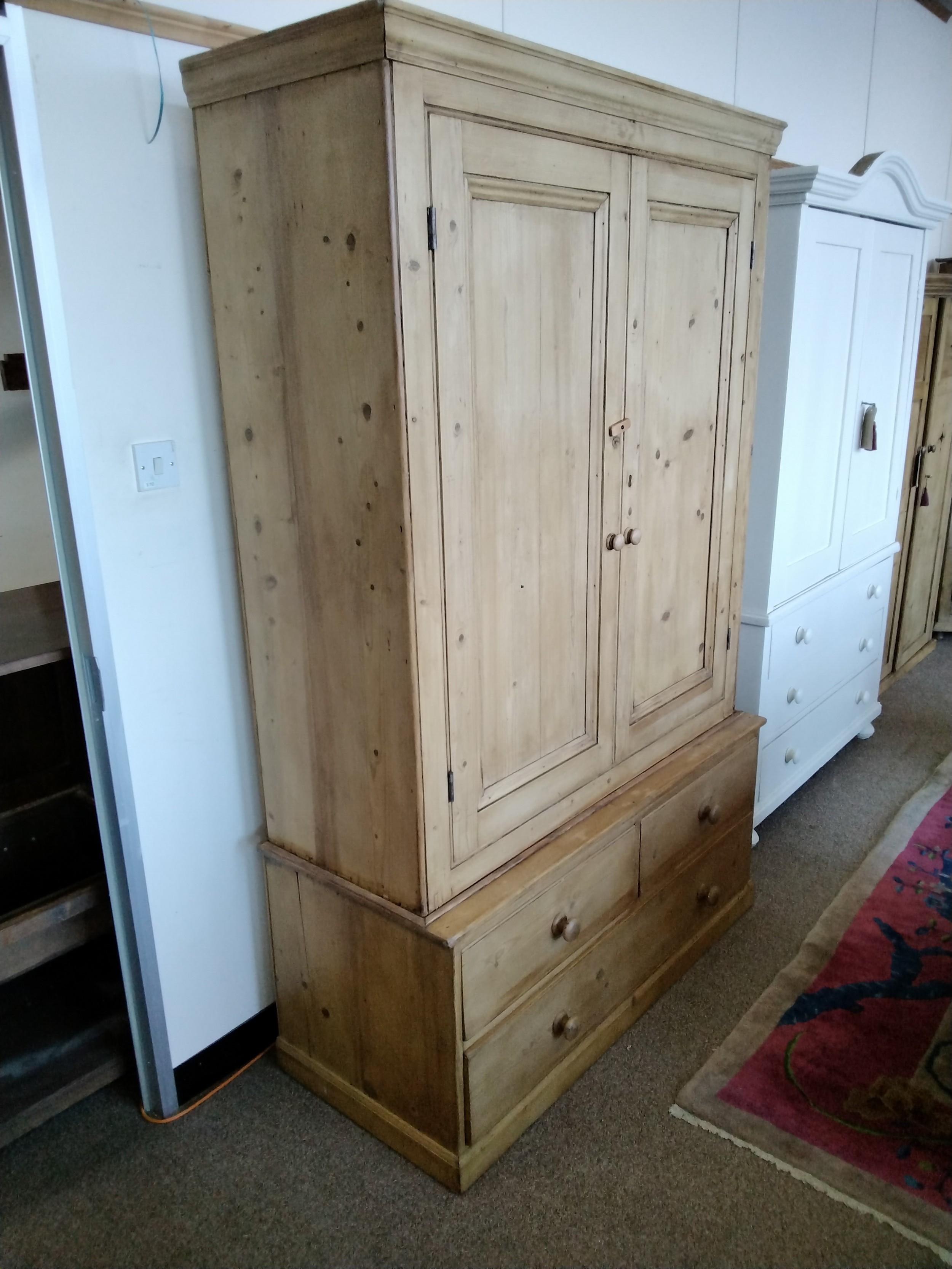 19th c pine wardrobe