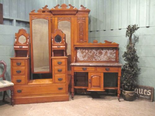 Antique Edwardian Satinwood Bedroom Suite Wardrobe Dressing Table Washstand C1900 220946