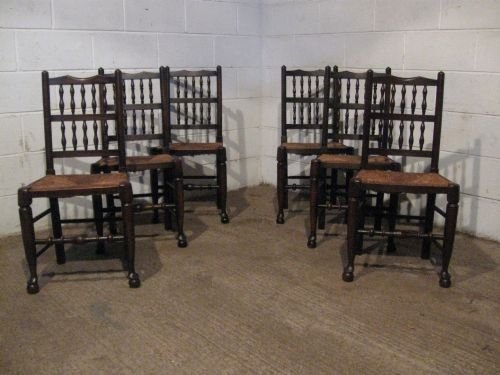 Antique Set Six Country Oak Spindle Back Dining Chairs C1920 Wdb4639279 901