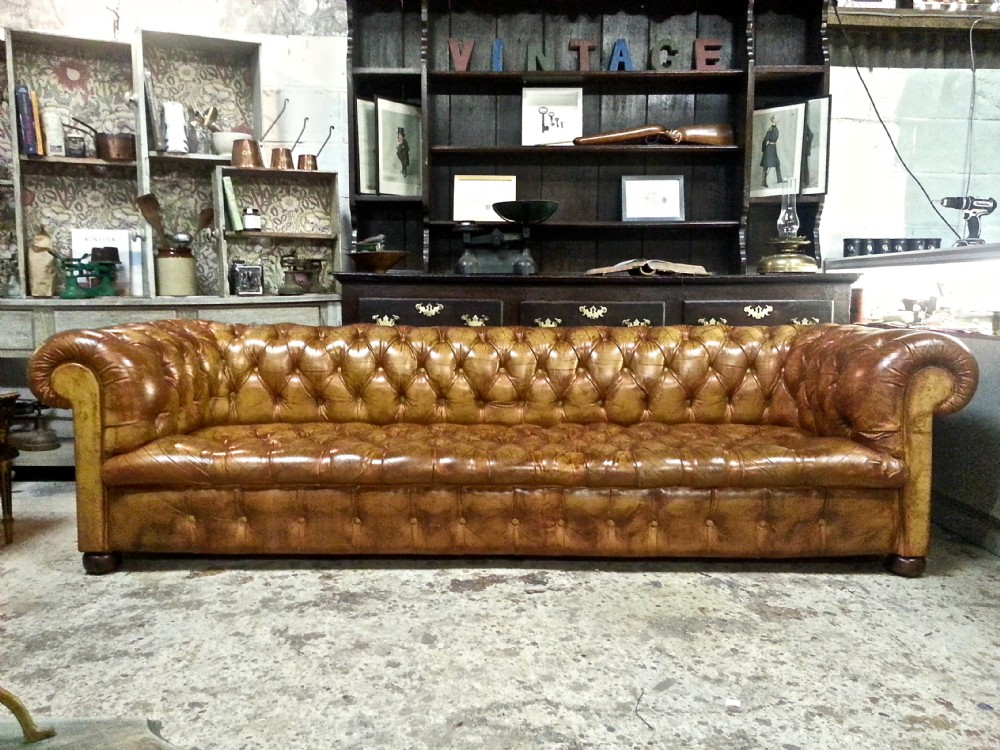 antique victorian edwardian tan leather hide full button down large chesterfield three seater. Black Bedroom Furniture Sets. Home Design Ideas
