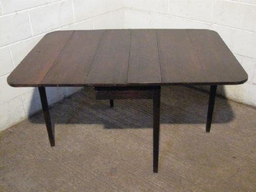 antique georgian oak drop leaf plank top dining table c1780
