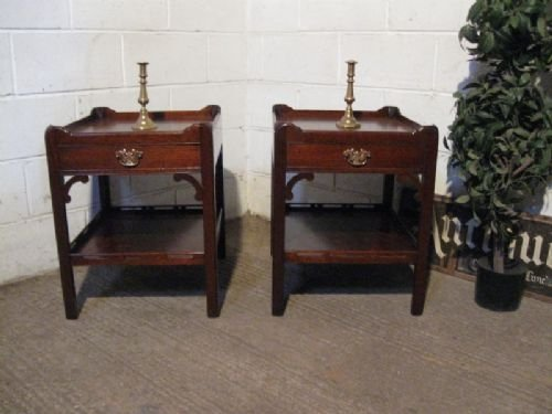 lovely pair antique edwardian mahogany chippendale bedside cabinets c1900