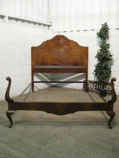 antique edwardian burr walnut queen anne double bedstead c1900