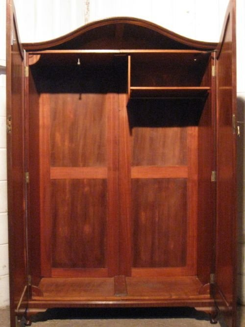 Modern Mahogany Bedroom Furniture: Antique Edwardian Mahogany Serpentine Wardrobe Tallboy