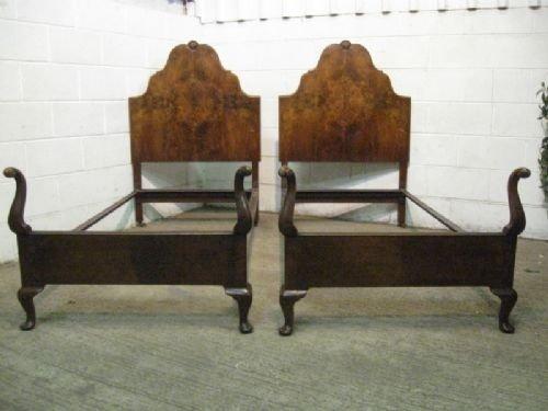 superb pair antique edwardian burr walnut single bedsteads c1900