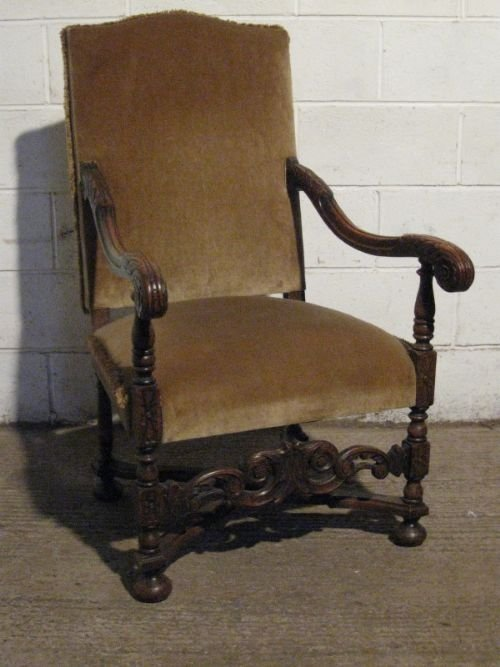 antique victorian gothic oak throne chair c1880 wdb1202511 - Antique Victorian Gothic Oak Throne Chair C1880 Wdb120/25.11 60245