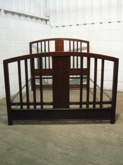antique edwardian inlaid mahogany double bed stead c1900 wdb702511