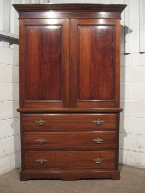 antique edwardian mahogany linen press on chest c1900 wdb280193